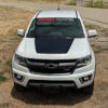 Chevy Colorado hood decal in flat black