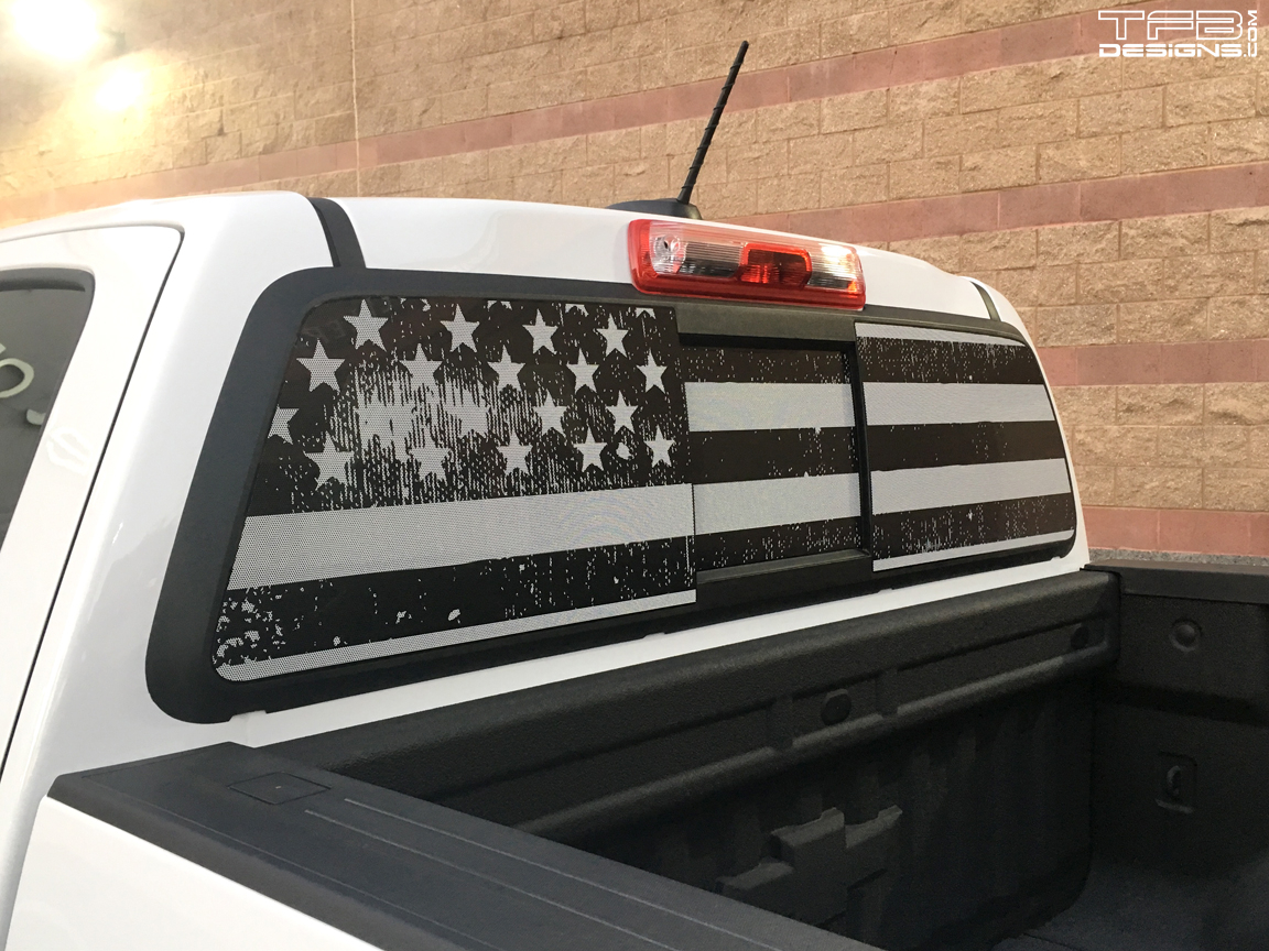 American flag rear window decal