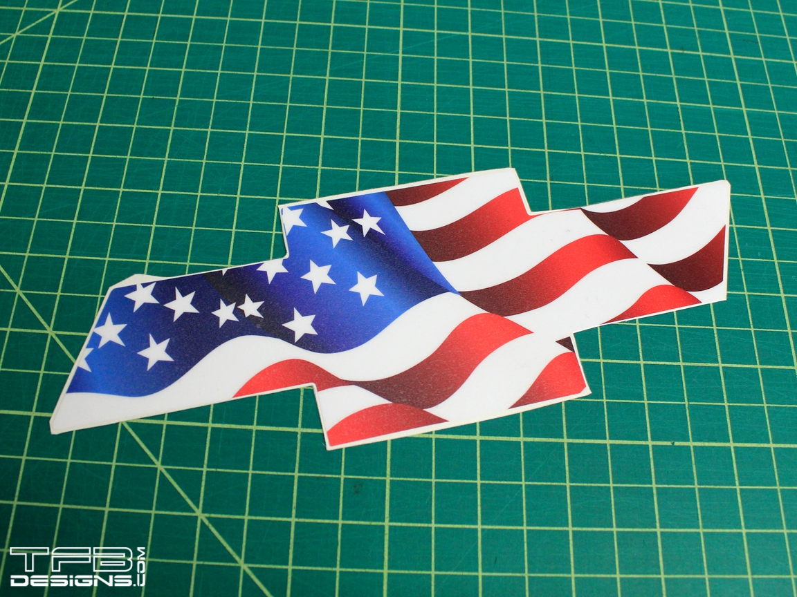 American Flag Front Chevy Emblem Decal for Chevrolet ...