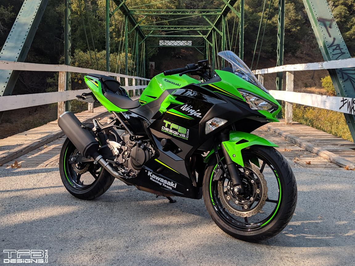 Blackout Fairing Decals For The 2018 Kawasaki Ninja 400 Krt Tfb