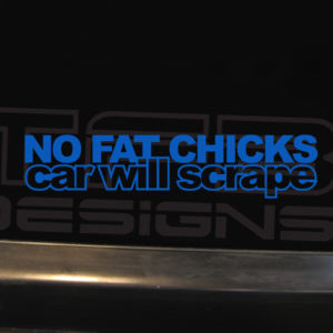 No Fat Chicks Car Will Scrape Decal – Many Colors – 8in x 2in